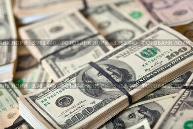 Фон из пачек американских долларов