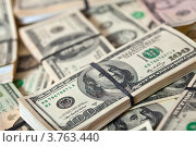 Купить «Фон из пачек американских долларов», фото № 3763440, снято 23 февраля 2012 г. (c) Яков Филимонов / Фотобанк Лори