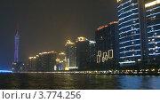 Купить «Корабль плывет по реке Перл по направлению к телевизионной башне Кантон, ночной таймлапс», видеоролик № 3774256, снято 16 января 2012 г. (c) Losevsky Pavel / Фотобанк Лори