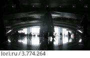 Купить «Пассажиры с багажом идут по станции Южный холл (таймлапс)», видеоролик № 3774264, снято 17 января 2012 г. (c) Losevsky Pavel / Фотобанк Лори