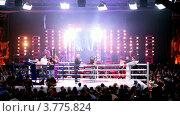 Купить «Два спортсмена борются на ринге. Девушка показывает табличку, оповещающую о начале первого раунда. Московская битва 3», видеоролик № 3775824, снято 11 января 2012 г. (c) Losevsky Pavel / Фотобанк Лори