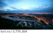 Купить «Панорама вечерней Москвы», видеоролик № 3776304, снято 26 февраля 2012 г. (c) Losevsky Pavel / Фотобанк Лори