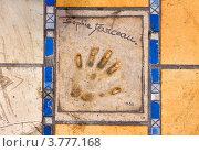 Купить «Отпечаток ладони известного актера. Канны», фото № 3777168, снято 13 июня 2010 г. (c) ElenArt / Фотобанк Лори