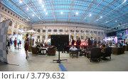Купить «Посетители отдыхают в кафе на выставке Недели моды (таймлапс)», видеоролик № 3779632, снято 27 апреля 2012 г. (c) Losevsky Pavel / Фотобанк Лори