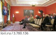 Купить «Журналисты на расширенном заседании Государственного Совета сидят напротив телевизоров, таймлапс», видеоролик № 3780136, снято 27 мая 2012 г. (c) Losevsky Pavel / Фотобанк Лори