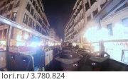 Купить «Пассажиры открытого автобуса едут по городу поздним вечером, таймлапс», видеоролик № 3780824, снято 19 апреля 2012 г. (c) Losevsky Pavel / Фотобанк Лори