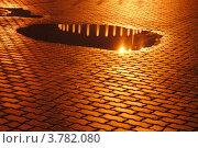 Отражение фонтана и фонаря в луже после дождя. Стоковое фото, фотограф Олег Брагин / Фотобанк Лори
