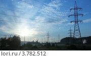 Купить «Линии электропередач», видеоролик № 3782512, снято 16 марта 2012 г. (c) Losevsky Pavel / Фотобанк Лори