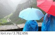 Купить «Люди смотрят на Фиорд долине под дождем», видеоролик № 3782656, снято 5 июня 2012 г. (c) Losevsky Pavel / Фотобанк Лори