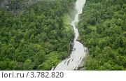 Купить «Водопад и река среди леса на горе на берегу фиорда», видеоролик № 3782820, снято 14 июня 2012 г. (c) Losevsky Pavel / Фотобанк Лори
