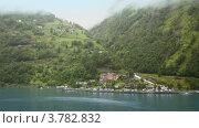 Купить «Вид с воды на горную деревню», видеоролик № 3782832, снято 18 мая 2012 г. (c) Losevsky Pavel / Фотобанк Лори