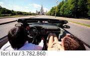 Купить «Мужчина и женщина едут по дороге в кабриолете ярким солнечным днем», видеоролик № 3782860, снято 28 апреля 2012 г. (c) Losevsky Pavel / Фотобанк Лори