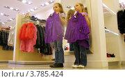 Купить «Две девочки примеряют одежду перед зеркалом в торговом центре, таймлапс», видеоролик № 3785424, снято 27 апреля 2012 г. (c) Losevsky Pavel / Фотобанк Лори
