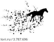 Купить «Чёрный силуэт лошади о осенних листьев на белом фоне», иллюстрация № 3787696 (c) Татьяна Петрова / Фотобанк Лори