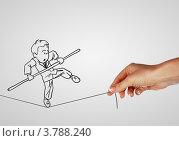 Купить «Риски и проблемы деловой жизни. Нарисованный человечек балансирует на канате», иллюстрация № 3788240 (c) Sergey Nivens / Фотобанк Лори