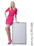 Купить «Блондинка в розовом платье с пустым плакатом», фото № 3791544, снято 6 июля 2012 г. (c) Elnur / Фотобанк Лори