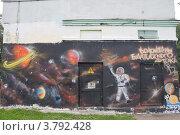 Купить «Граффити на космическую тему на стене трансформаторной будки. Калининград», эксклюзивное фото № 3792428, снято 21 августа 2012 г. (c) Иван Марчук / Фотобанк Лори