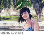 Девушка и цветок орхидеи. Стоковое фото, фотограф Анастасия Нестерова / Фотобанк Лори