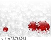 Купить «Красные шарики в белых снежинках - новогодняя открытка», иллюстрация № 3795572 (c) Евгения Малахова / Фотобанк Лори
