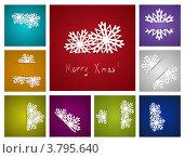 Купить «Набор новогодних фонов со снежинками», иллюстрация № 3795640 (c) Евгения Малахова / Фотобанк Лори