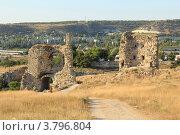 Купить «Развалины средневековой крепости Каламита, Инкерман, Крым», эксклюзивное фото № 3796804, снято 27 августа 2011 г. (c) Rekacy / Фотобанк Лори