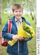 Купить «Школьник с букетом в парке», фото № 3803612, снято 31 августа 2012 г. (c) Володина Ольга / Фотобанк Лори