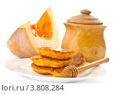 Купить «Оладьи из тыквы с медом», фото № 3808284, снято 4 сентября 2012 г. (c) Peredniankina / Фотобанк Лори