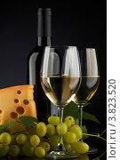 Натюрморт с белым вином и сыром. Стоковое фото, фотограф Иван Михайлов / Фотобанк Лори