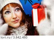 Купить «Девушка в зимней одежде с новогодним подарком», фото № 3842480, снято 25 декабря 2011 г. (c) Podvysotskiy Roman / Фотобанк Лори