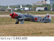 Купить «Самолёт Як-3 (Yakovlev Yak-3UTI-PW) на аэродроме Раменское», эксклюзивное фото № 3843600, снято 12 августа 2012 г. (c) Alexei Tavix / Фотобанк Лори