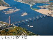 Купить «Висячий вантовый автомобильный и балочный железнодорожный мосты через реку», фото № 3851712, снято 11 сентября 2012 г. (c) Владимир Мельников / Фотобанк Лори