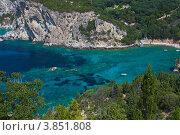 Вид на прозрачное море с горы на о.Корфу (2012 год). Стоковое фото, фотограф Алексей Кондратьев / Фотобанк Лори