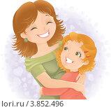 Купить «Молодая женщина улыбается и обнимает маленькую девочку», иллюстрация № 3852496 (c) Савицкая Татьяна / Фотобанк Лори
