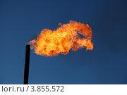 Сжигание попутного газа на месторождении нефти (2012 год). Редакционное фото, фотограф Валерий Акулич / Фотобанк Лори