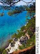 Купить «Обрывистый склон с реликтовой пицундской сосной на фоне моря, курорт Дивноморское», фото № 3856432, снято 21 апреля 2008 г. (c) Игорь Архипов / Фотобанк Лори