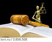 Купить «Молоток правосудия на книге на черном фоне», фото № 3858508, снято 22 сентября 2012 г. (c) Ласточкин Евгений / Фотобанк Лори