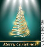 Новогодняя открытка с абстрактной елкой. Стоковая иллюстрация, иллюстратор Чичина Марина / Фотобанк Лори