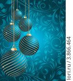 Новогодние украшения на фоне с цветочным узором. Стоковая иллюстрация, иллюстратор Чичина Марина / Фотобанк Лори