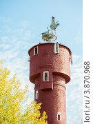 Купить «Скульптура Аисты на городской водонапорной башне, Ахтубинск», эксклюзивное фото № 3870968, снято 27 сентября 2012 г. (c) katalinks / Фотобанк Лори