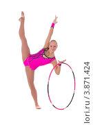 Купить «Гимнастка с обручем делает стойку», фото № 3871424, снято 12 сентября 2012 г. (c) Tatjana Romanova / Фотобанк Лори