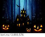 Купить «Открытка с замком ведьмы и тыквами к Хэллоуину», иллюстрация № 3893576 (c) ElenArt / Фотобанк Лори