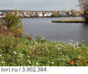 Набережная реки Арамилки с видом на город Арамиль (2012 год). Стоковое фото, фотограф Оксана Мурзина / Фотобанк Лори