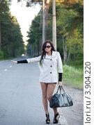 Купить «Девушка в чулках и коротком плаще ловит автомобиль», фото № 3904220, снято 29 июня 2012 г. (c) Литвяк Игорь / Фотобанк Лори