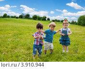 Купить «Трое маленьких детей на летнем лугу», фото № 3910944, снято 7 июля 2012 г. (c) Сергей Новиков / Фотобанк Лори