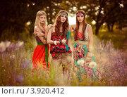 Три девушки в нарядах хиппи в поле. Стоковое фото, фотограф Boris Bushmin / Фотобанк Лори