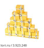 Купить «Золотые коробки с серебряной ленточкой на праздник в подарок», фото № 3923248, снято 18 августа 2012 г. (c) Tatjana Romanova / Фотобанк Лори