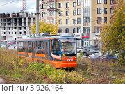 Купить «Городской трамвай, Уфа», фото № 3926164, снято 28 сентября 2012 г. (c) Донцов Евгений Викторович / Фотобанк Лори