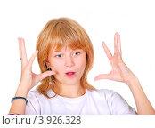 Купить «Эмоциональная девушка жестикулирует руками», фото № 3926328, снято 17 октября 2011 г. (c) Алёшина Оксана / Фотобанк Лори