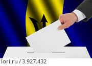 Купить «Флаг Барбадоса и рука, опускающая бюллетень в урну», иллюстрация № 3927432 (c) Александр Макаров / Фотобанк Лори
