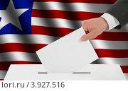 Купить «Рука опускает избирательный бюллетень на фоне флага Либерии», иллюстрация № 3927516 (c) Александр Макаров / Фотобанк Лори
